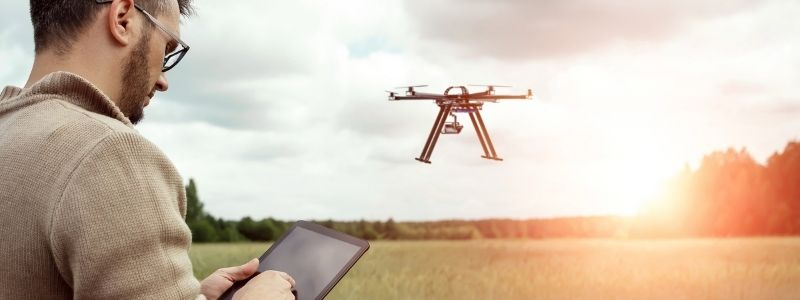 Queensland research capability - flying drone over crops